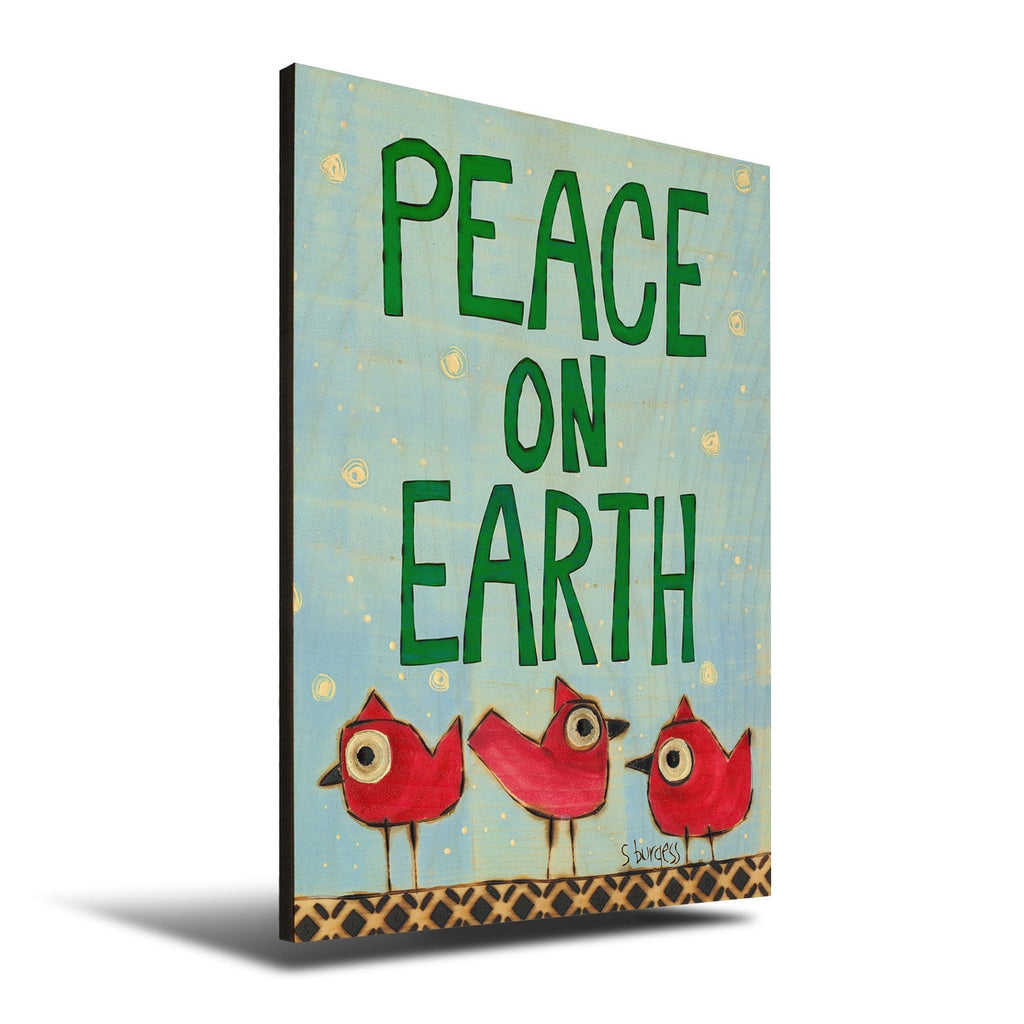 Solid Wood Wall Art - Painted Peace by Stephanie Burgess' Peace Birds - 12x18 DaydreamHQ Pine Wall Art 12x18