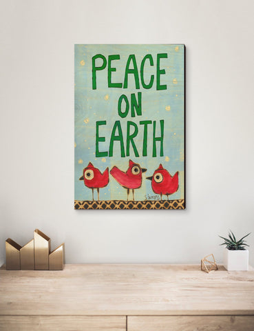 Solid Wood Wall Art - Painted Peace by Stephanie Burgess' Peace Birds - 12x18