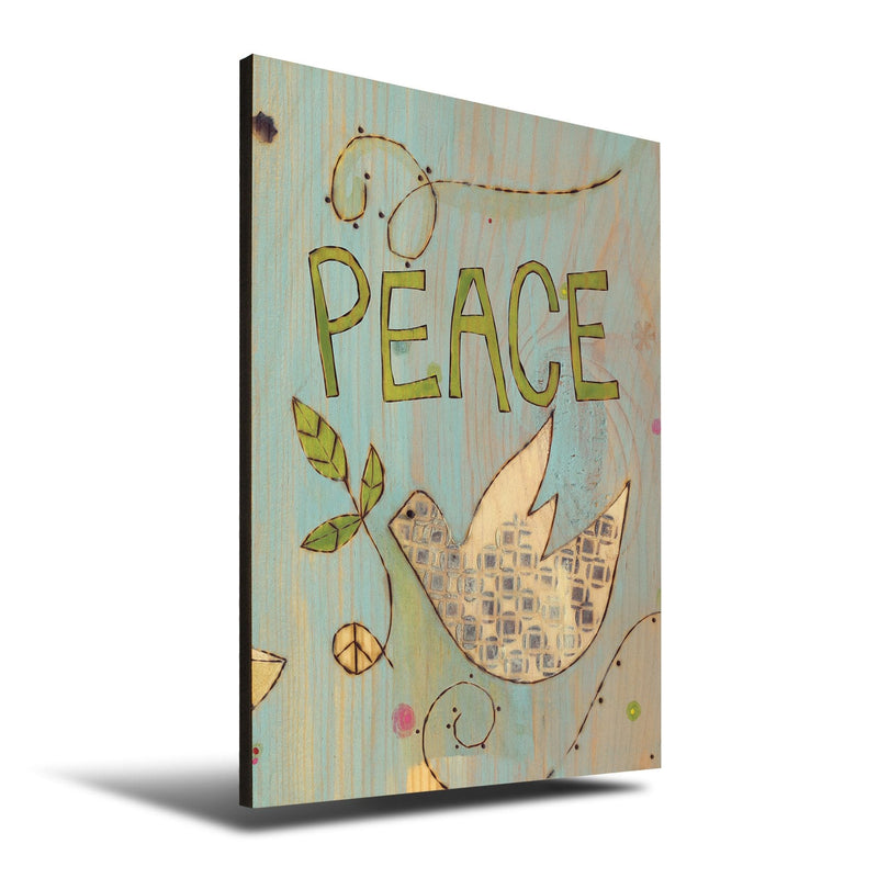 Solid Wood Wall Art - Painted Peace by Stephanie Burgess' Peace Dove - 12x18 DaydreamHQ Pine Wall Art 12x18