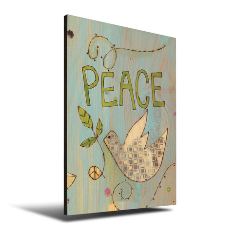 Solid Wood Wall Art - Painted Peace by Stephanie Burgess' Peace Dove - 12x18