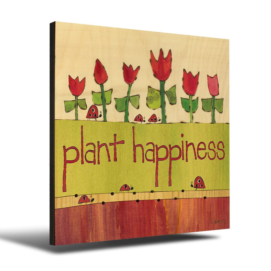 Solid Wood Wall Art - Painted Peace by Stephanie Burgess' Plant Happiness - 12x12 DaydreamHQ Pine Wall Art 12x12