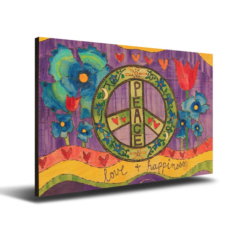 Solid Wood Wall Art - Painted Peace by Stephanie Burgess' Peace Love Happiness - 12x18