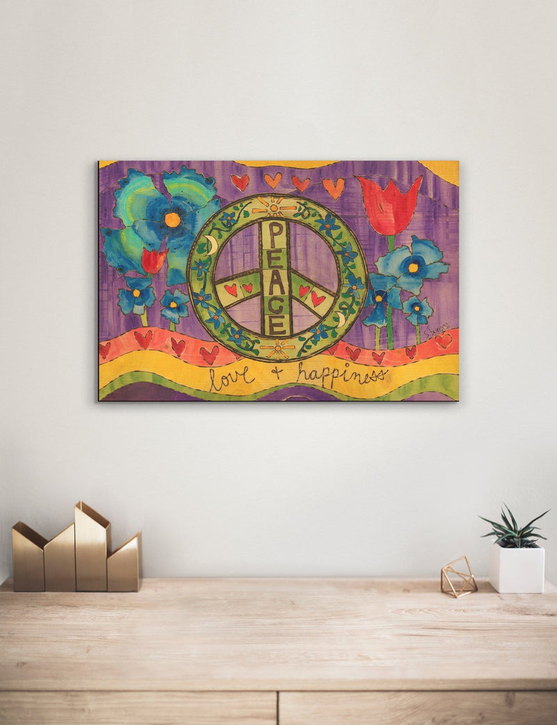 Solid Wood Wall Art - Painted Peace by Stephanie Burgess' Peace Love Happiness - 12x18 DaydreamHQ Pine Wall Art 12x18