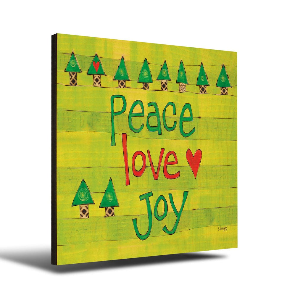 Solid Wood Wall Art - Painted Peace by Stephanie Burgess' Peace Love Joy - 12x12 DaydreamHQ Pine Wall Art 12x12