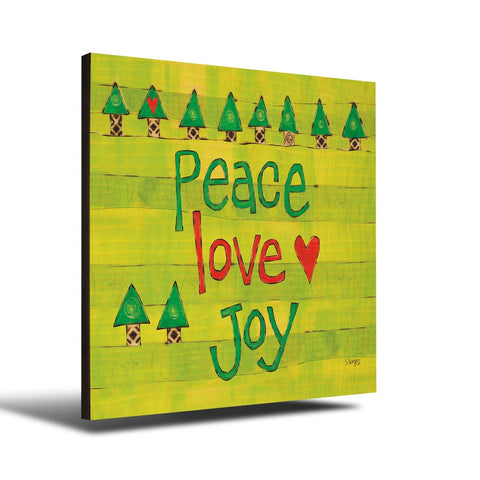 Solid Wood Wall Art - Painted Peace by Stephanie Burgess' Peace Love Joy - 12x12