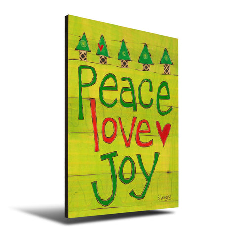 Solid Wood Wall Art - Painted Peace by Stephanie Burgess' Peace Love Joy - 12x18