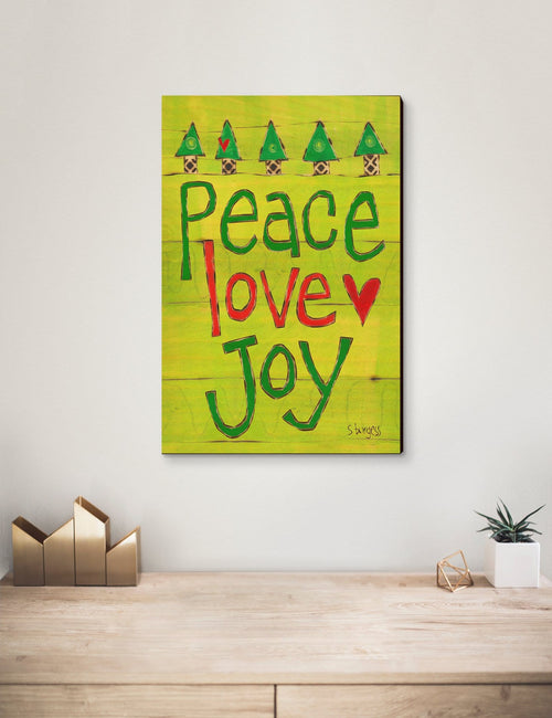 Solid Wood Wall Art - Painted Peace by Stephanie Burgess' Peace Love Joy - 12x18 DaydreamHQ Pine Wall Art 12x18