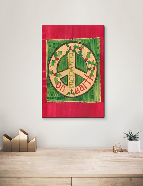 Solid Wood Wall Art - Painted Peace by Stephanie Burgess' Peace On Earth - 12x18 DaydreamHQ Pine Wall Art 12x18