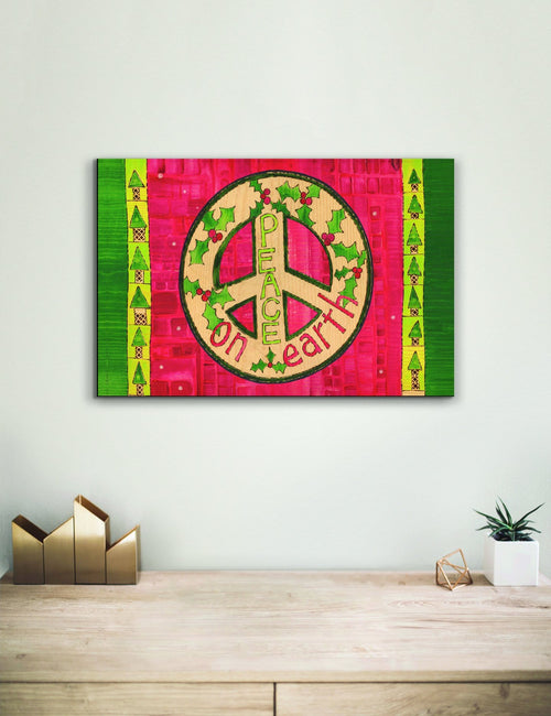 Solid Wood Wall Art - Painted Peace by Stephanie Burgess' Red Peace - 12x18 DaydreamHQ Pine Wall Art 12x18