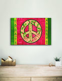 Solid Wood Wall Art - Painted Peace by Stephanie Burgess' Red Peace - 12x18
