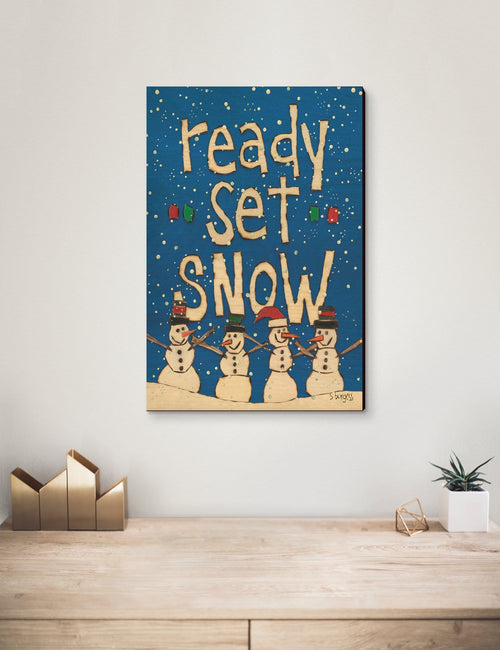 Solid Wood Wall Art - Painted Peace by Stephanie Burgess' Ready Set Snow - 12x18 DaydreamHQ Pine Wall Art 12x18
