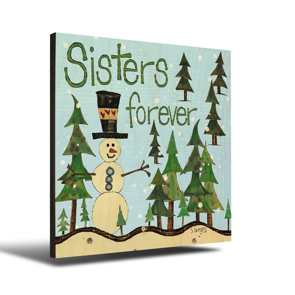 Solid Wood Wall Art - Painted Peace by Stephanie Burgess' Sisters Forever - 12x12 DaydreamHQ Pine Wall Art 12x12