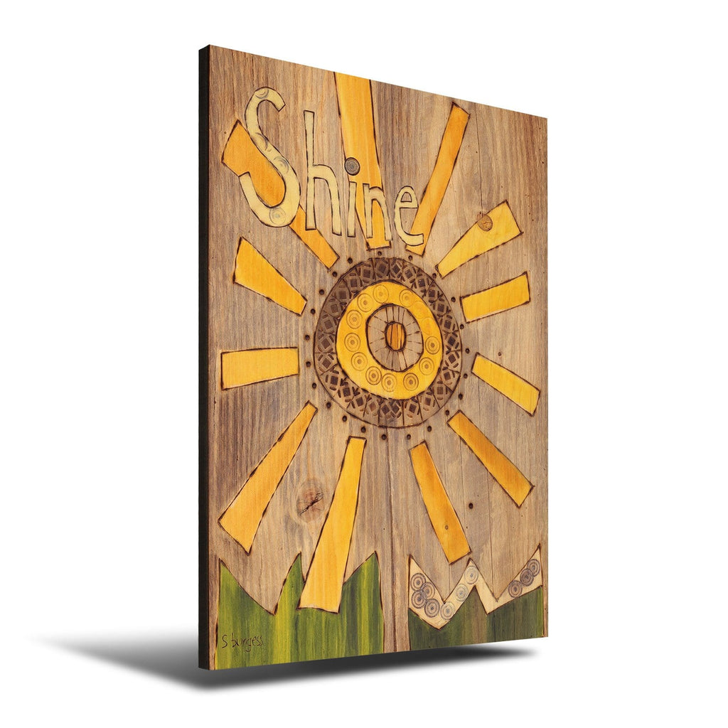 Solid Wood Wall Art - Painted Peace by Stephanie Burgess' Shine - 12x18 DaydreamHQ Pine Wall Art 12x18