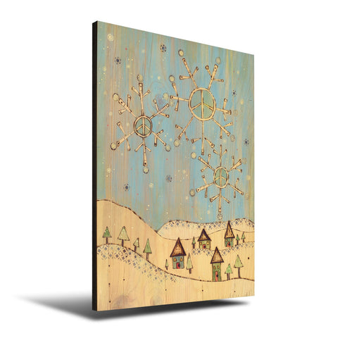 Solid Wood Wall Art - Painted Peace by Stephanie Burgess' Snow Town - 12x18