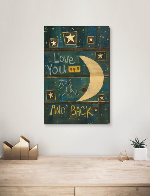 Solid Wood Wall Art - Painted Peace by Stephanie Burgess' To The Moon - 12x18 DaydreamHQ Pine Wall Art 12x18