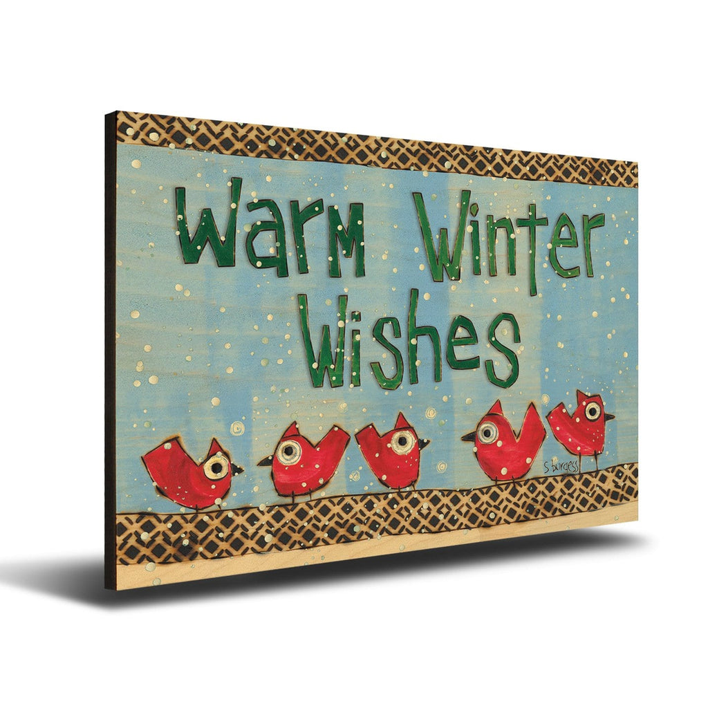 Solid Wood Wall Art - Painted Peace by Stephanie Burgess' Warm Winter Wishes - 12x18 DaydreamHQ Pine Wall Art 12x18