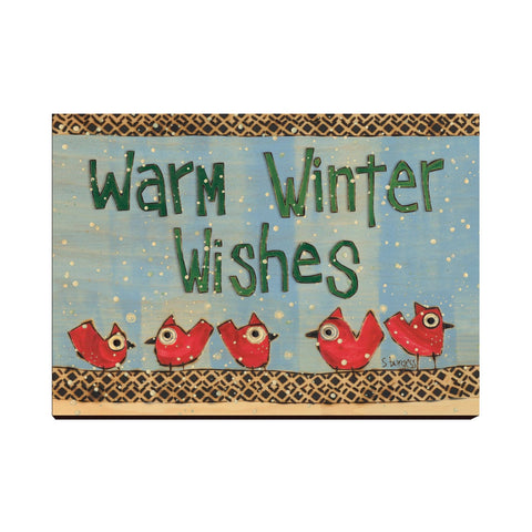 Solid Wood Wall Art - Painted Peace by Stephanie Burgess' Warm Winter Wishes - 12x18