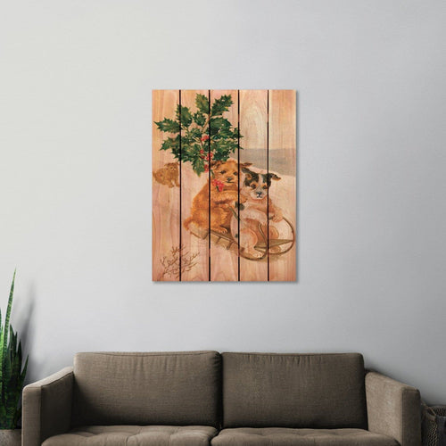 Sleigh Dogs - Christmas Wood Wall Art DaydreamHQ FenceEscape