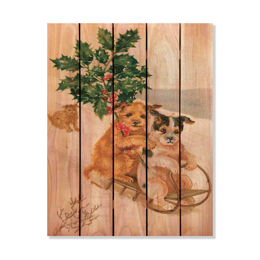 "Sleigh Dogs - Christmas Wood Wall Art DaydreamHQ FenceEscape 28""x36"""