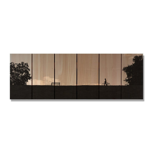 "Silhouette Park - Wood Wall Art DaydreamHQ FenceEscape 32""x11"""