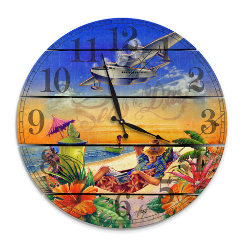 Seas the Day Jimmy Buffet Inspired Wood Wall Clock - Indoor & Outdoor Decor DaydreamHQ 24""
