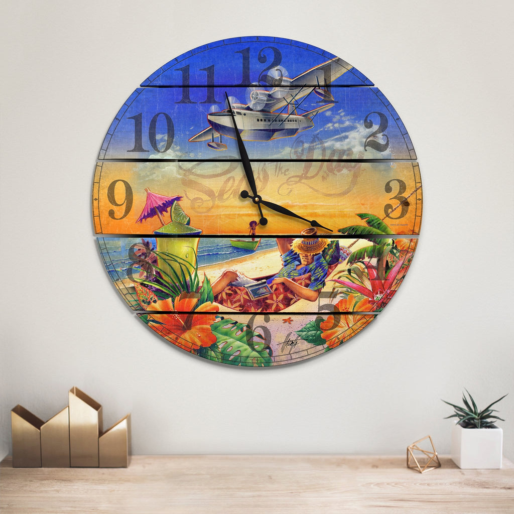 Seas the Day Jimmy Buffet Inspired Wood Wall Clock - Indoor & Outdoor Decor DaydreamHQ