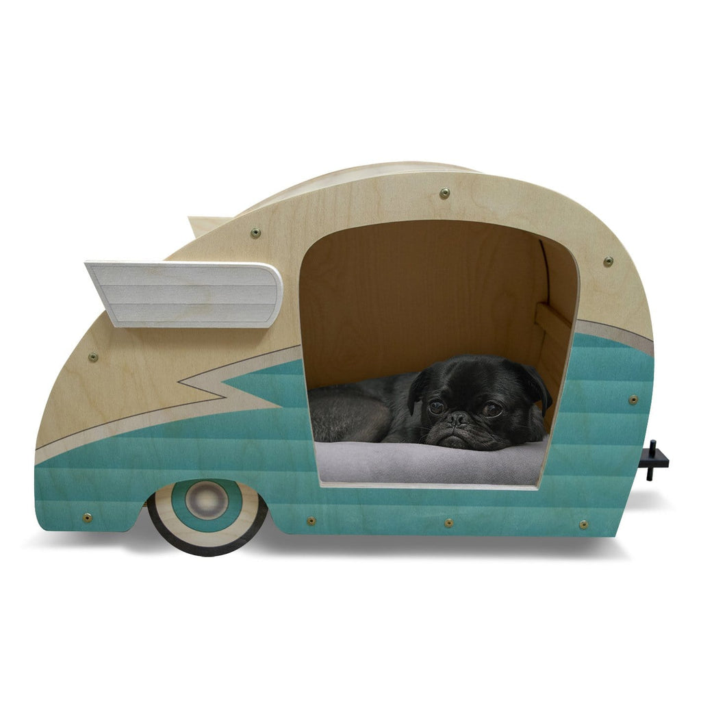 Retro Shasta Trailer - Pet Bed - Robin's Egg Blue DaydreamHQ Gift Robin's Egg Blue