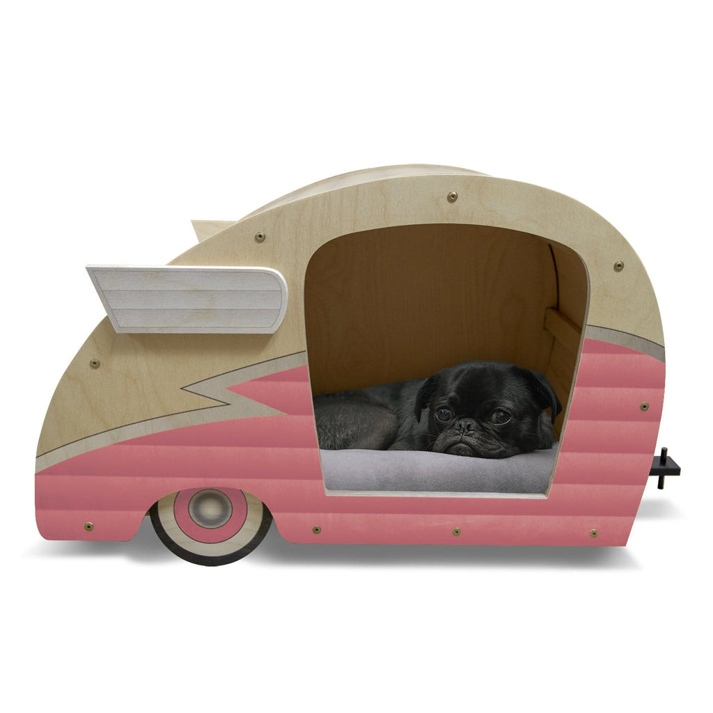 Retro Shasta Trailer - Pet Bed - Bubblegum Pink DaydreamHQ Gift Bubble Gum Pink