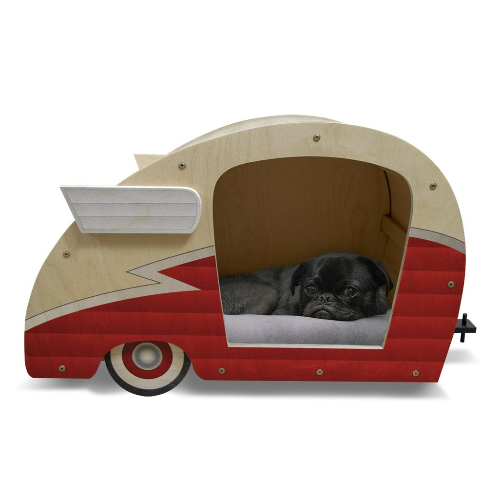 Retro Shasta Trailer - Pet Bed - Matador Red DaydreamHQ Gift Matador Red