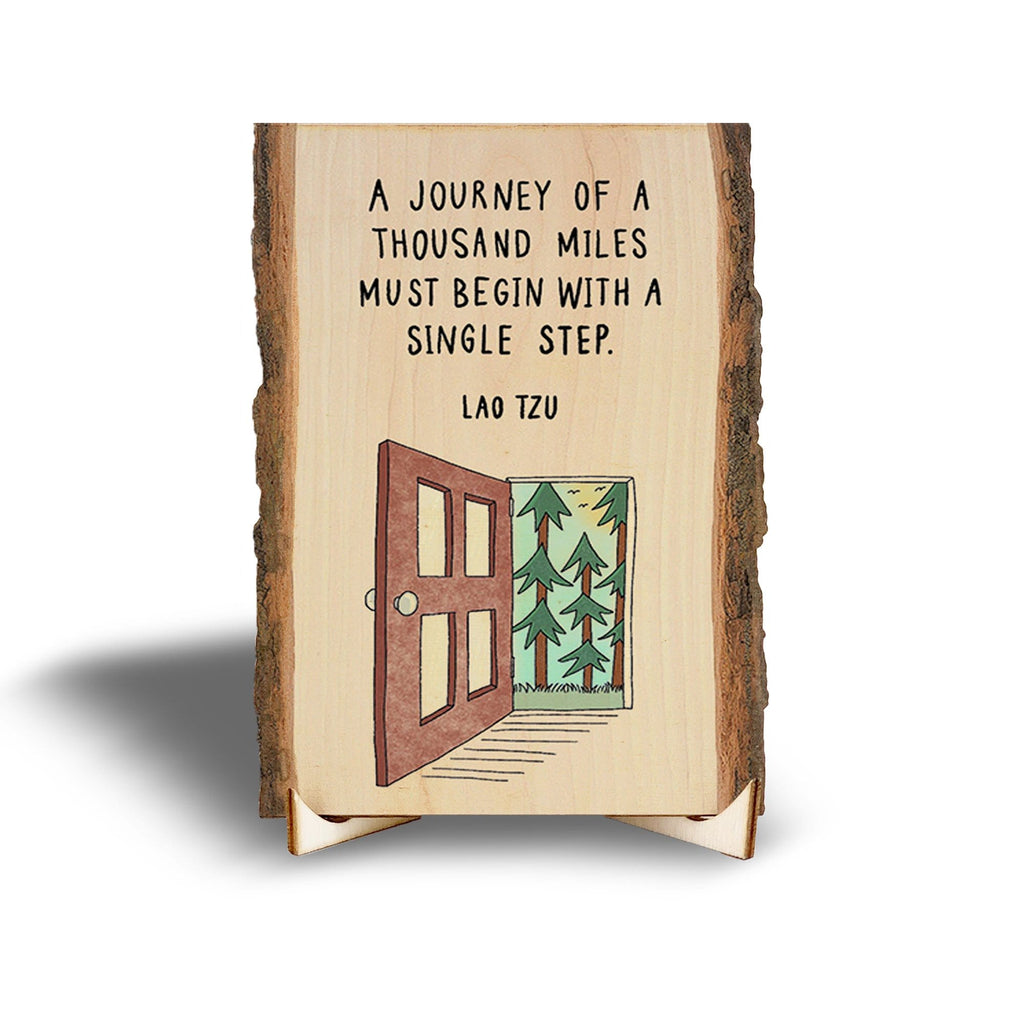 Lao Tzu Inspirational Quote on Real Wood - Mini Art with Display Easel