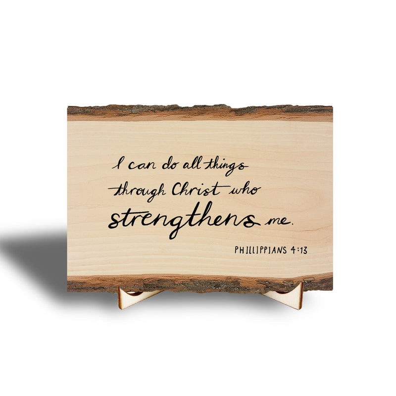 I Can Do All Things Scripture on Real Wood - Mini Art with Display Easel DaydreamHQ