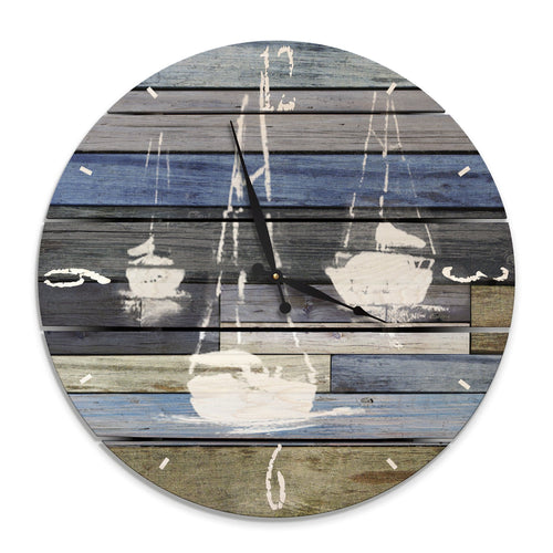 Blue Sailboats Wall Clock on Wood - Indoor & Outdoor Decor Daydream HQ Pine Wall Art 24""