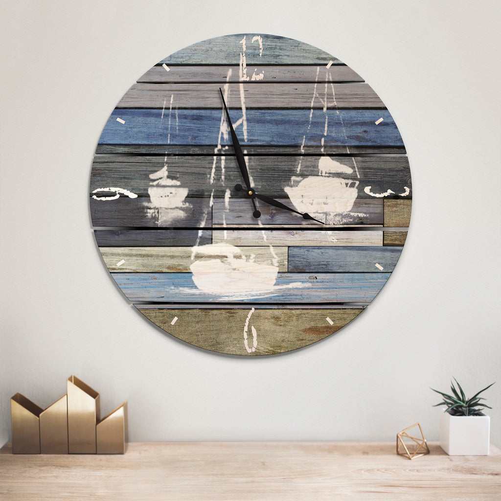 Blue Sailboats Wall Clock on Wood - Indoor & Outdoor Decor Daydream HQ Pine Wall Art