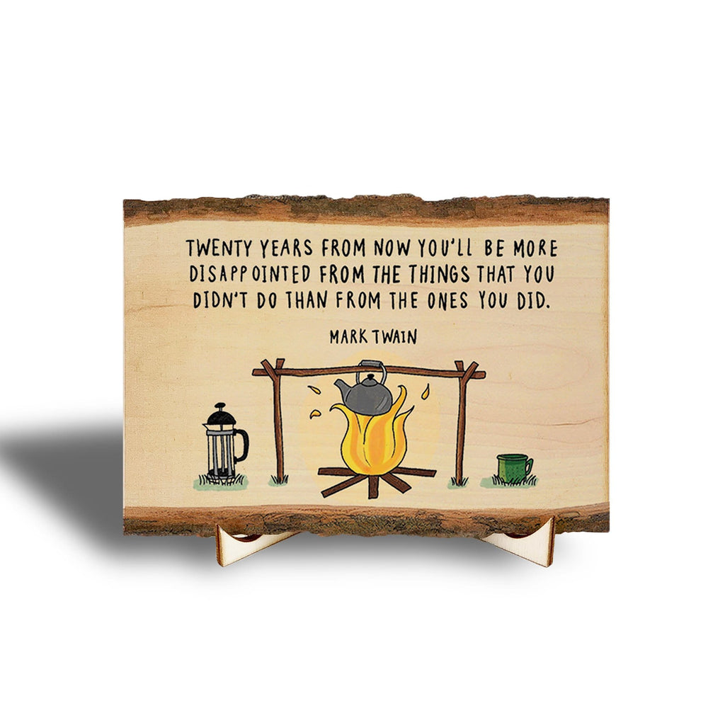 Mark Twain Inspirational Quote on Real Wood - Mini Art with Display Easel