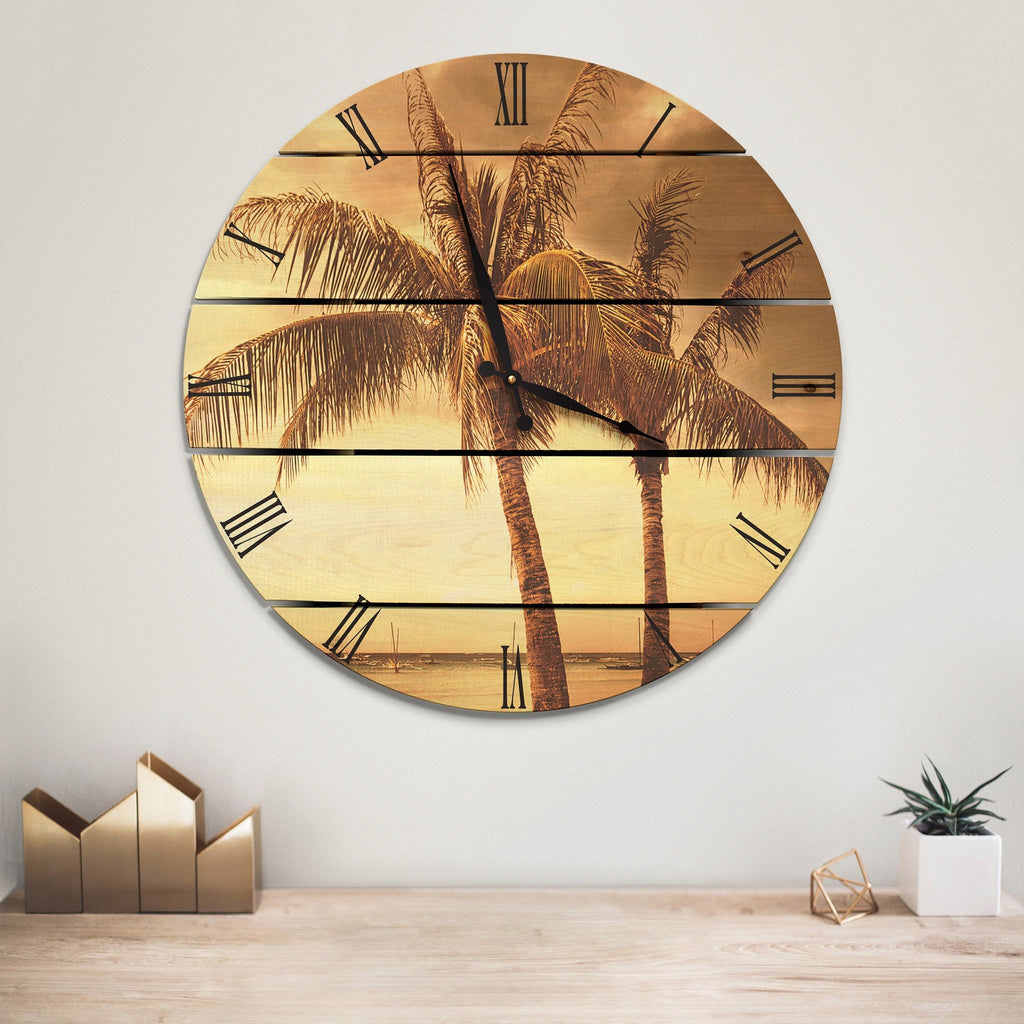 Vintage Tropical Wood Wall Clock - Indoor & Outdoor Decor Outside by Mike FenceEscape