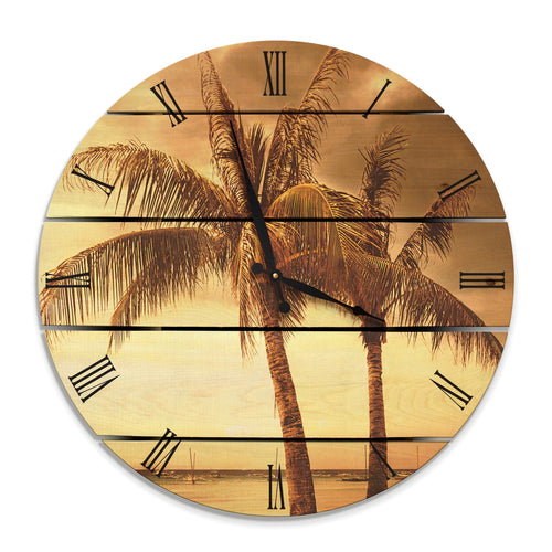 Vintage Tropical Wood Wall Clock - Indoor & Outdoor Decor Outside by Mike FenceEscape 24""