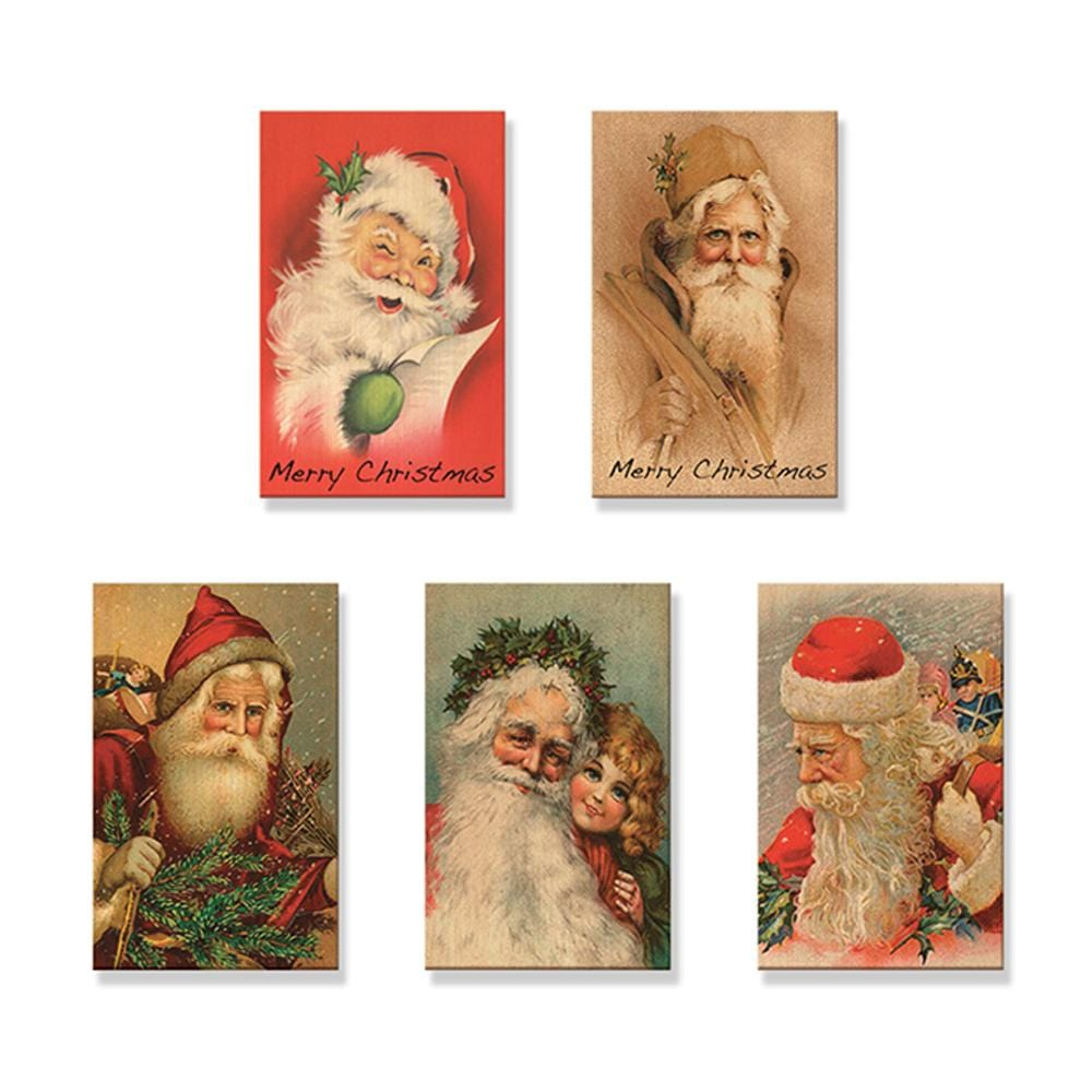 Vintage Santas - Mailable Wood Postcards - 5 pack DaydreamHQ Postcard