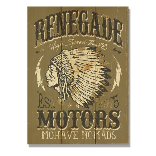 "Renegade Motors on Wood - Motorcycle Wall Decor DaydreamHQ Pine Wall Art 11""x15"""
