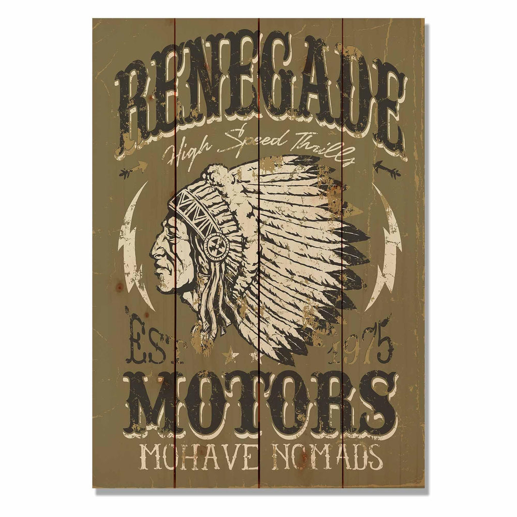 "Renegade Motors on Wood - Motorcycle Wall Decor DaydreamHQ Pine Wall Art 14""x20"""