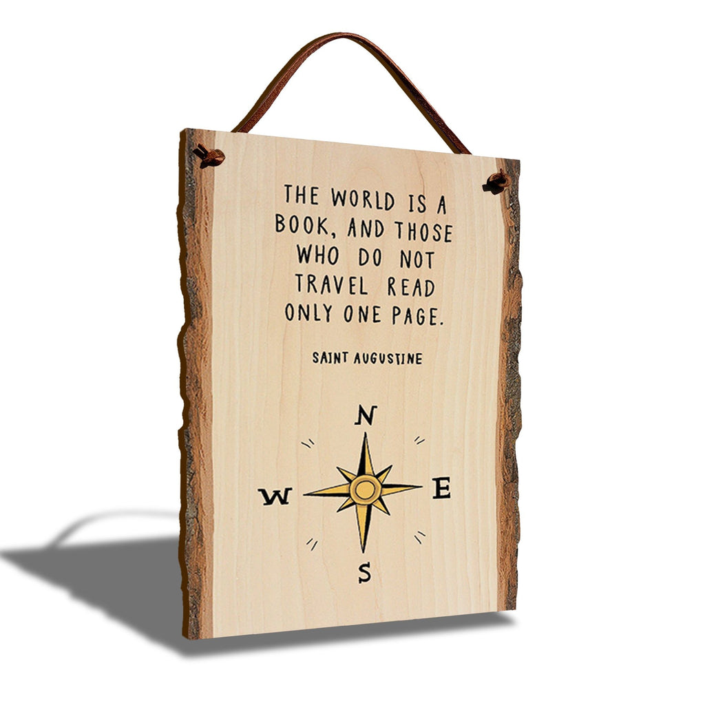 "Saint Augustine World Book Quote on 6""x9"" Live Edge DaydreamHQ"