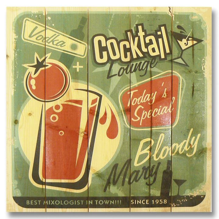 Retro Cocktails 17x17 - Classic Pine Wood Art Outside by Mike FenceEscape Cocktail Lounge 17x17