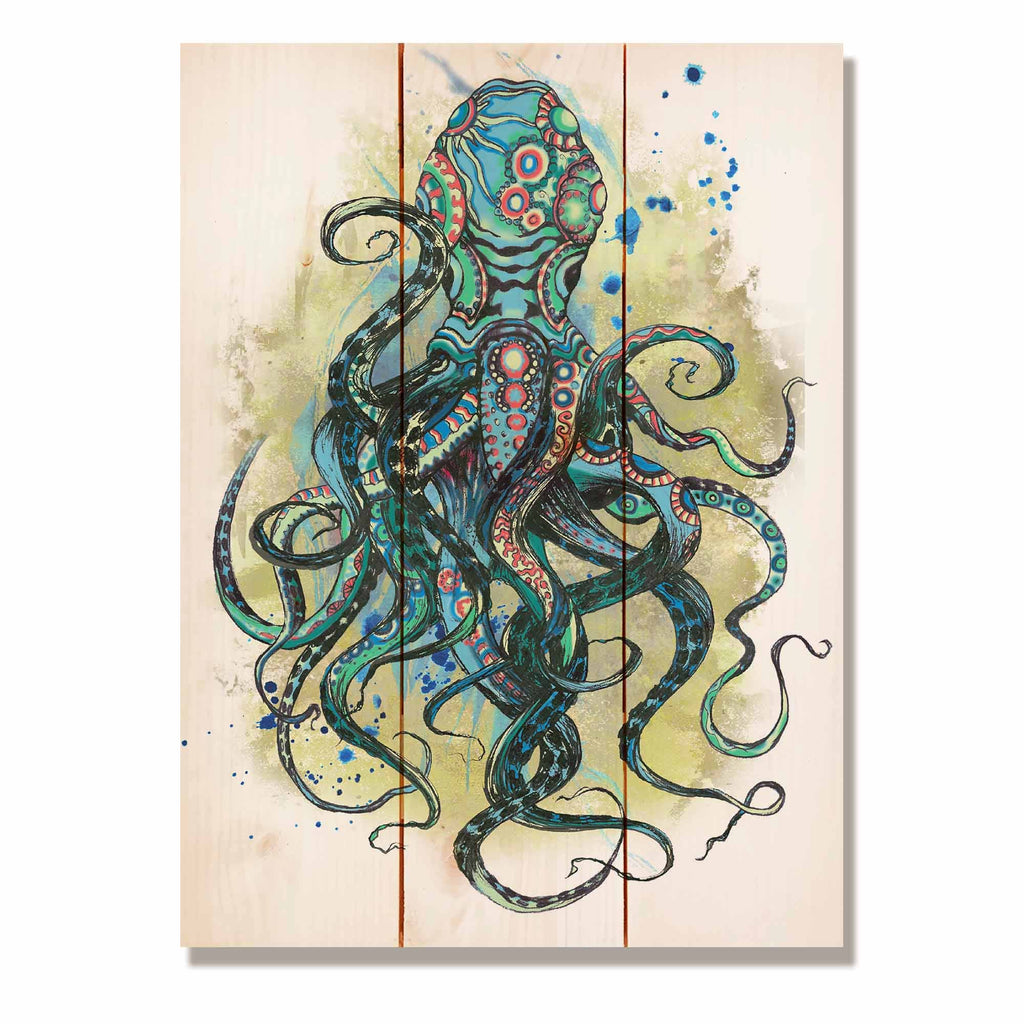 "Colorful Blue Octopus - Nautical and Ocean Wood Wall Decor DaydreamHQ 11""x15"""