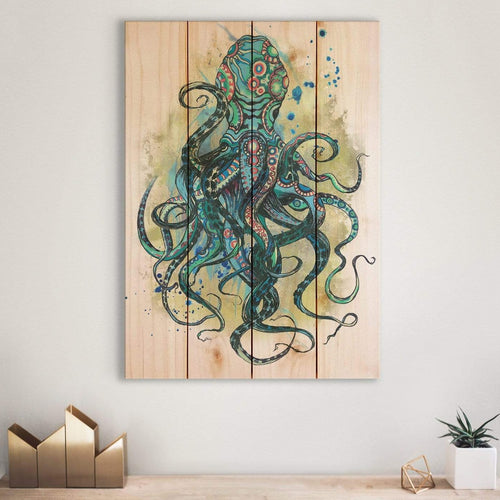 Colorful Blue Octopus - Nautical and Ocean Wood Wall Decor DaydreamHQ