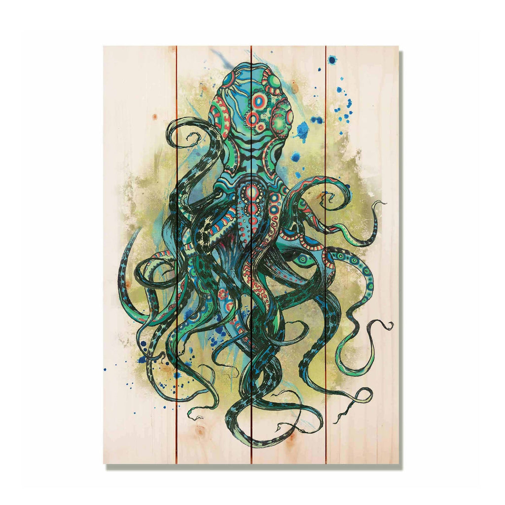 "Colorful Blue Octopus - Nautical and Ocean Wood Wall Decor DaydreamHQ 14""x20"""