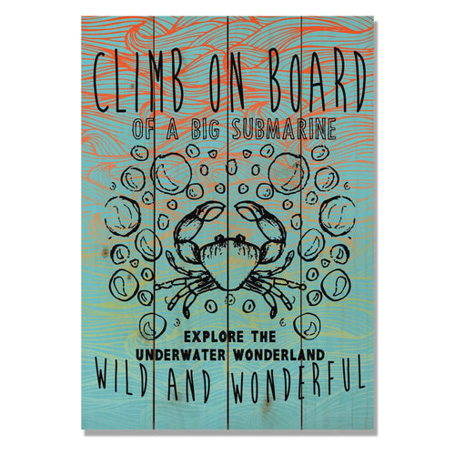 "Climb On Board - Classic Pine Wood Art Art DaydreamHQ Pine Wall Art 14""x20"""