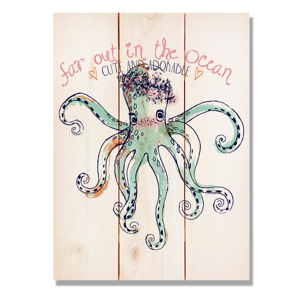 "Cute Octopus - Classic Pine Wood Art Art DaydreamHQ Pine Wall Art 11""x15"""