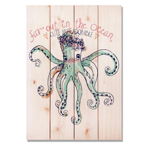 Cute Octopus - Classic Pine Wood Art Art