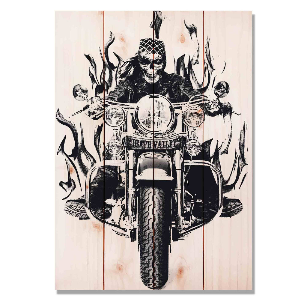 "Death Valley Bike - Motorcycle Wood Wall Decor DaydreamHQ Pine Wall Art 14""x20"""