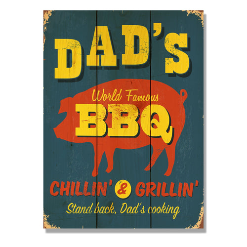 "Dad's BBQ - Classic Pine Wood Art DaydreamHQ Pine Wall Art 11""x15"""