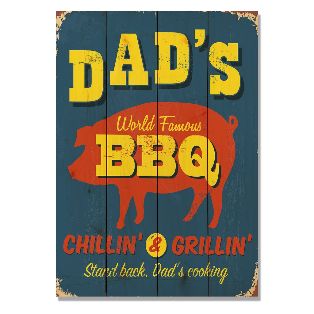 "Dad's BBQ - Classic Pine Wood Art DaydreamHQ Pine Wall Art 14""x20"""